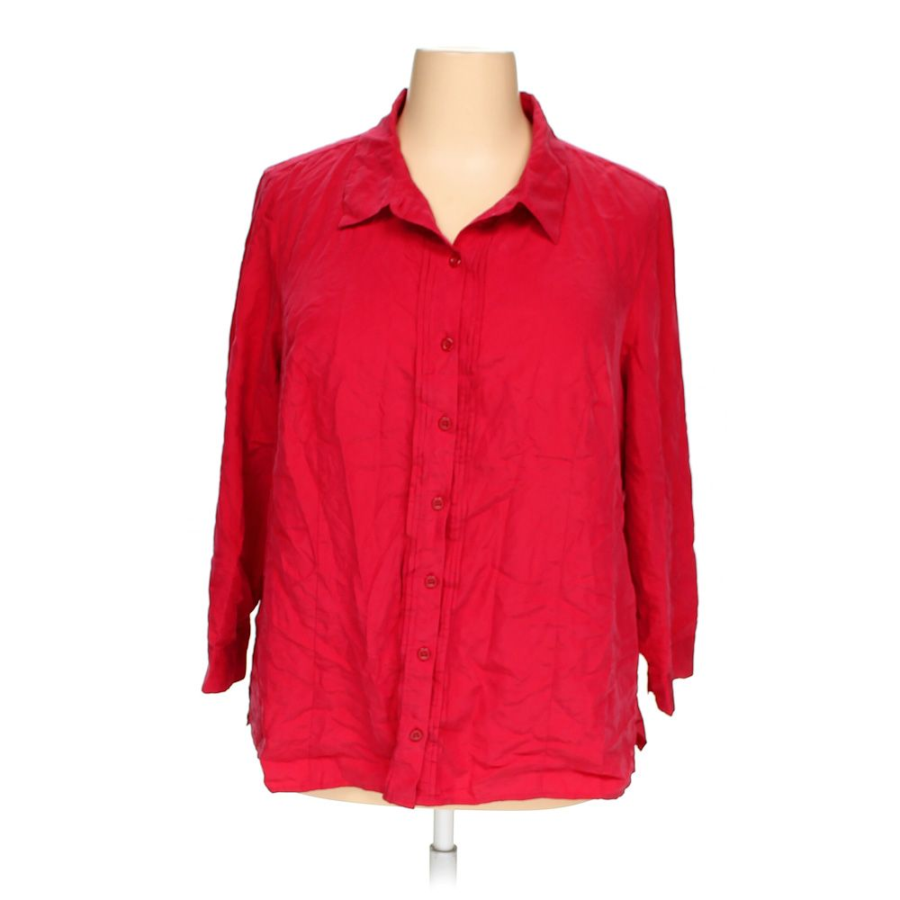 Catherines women 39 s button up shirt size 1x red ebay for Red velvet button up shirt