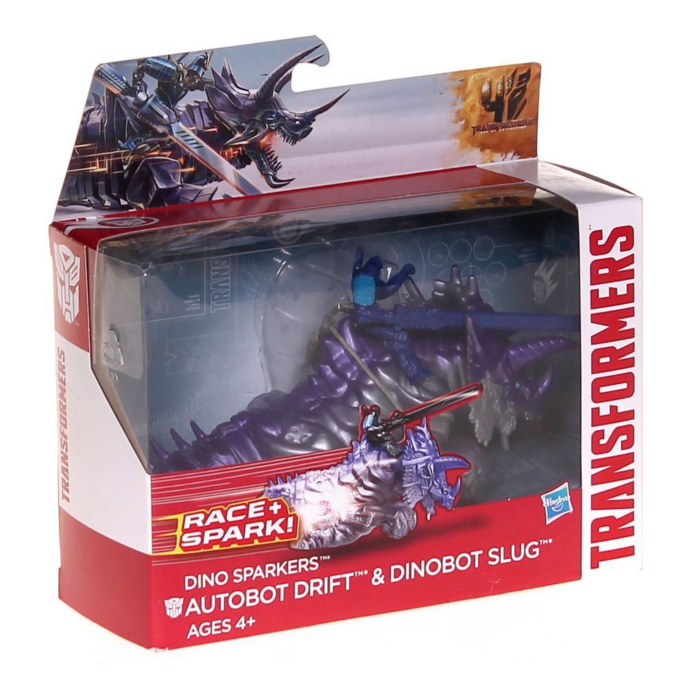 Transformers Age of Extinction Dino Sparkers Autobot Drift and Dinobot Slug Figures 6658315247