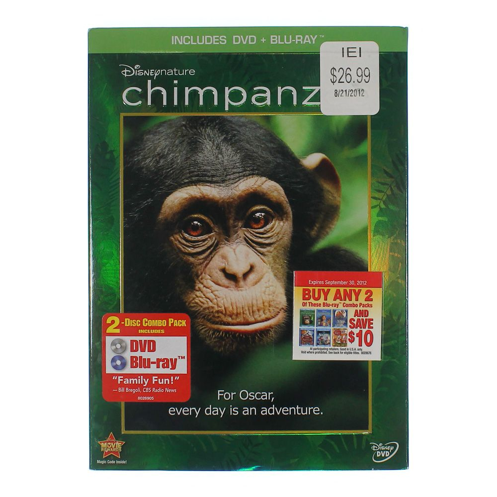 Movie: Disneynature Chimpanzee (Two-Disc Blu-ray/DVD Combo in DVD Packaging) 8018596695