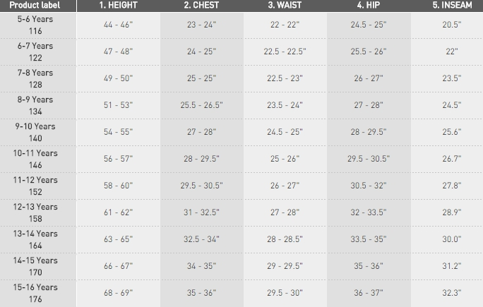 Adidas boys' sizes 5-16 apparel size chart