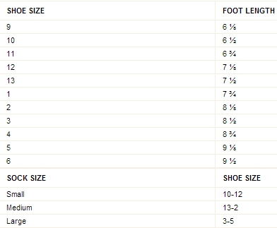 Crazy 8 girl & boy sock & shoe size chart
