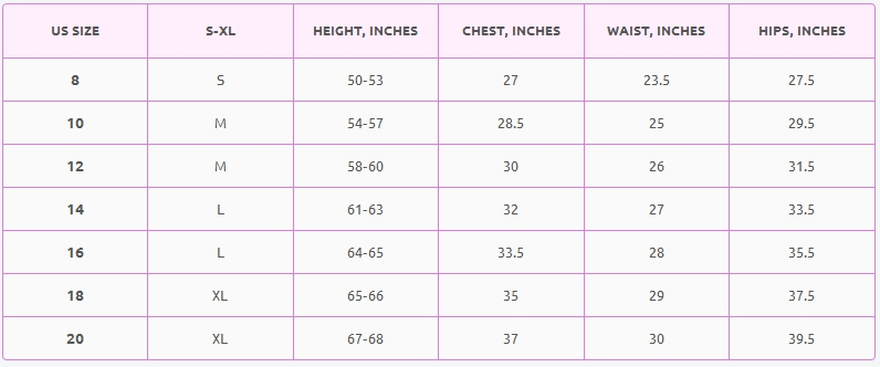 Boys' clothes size chart