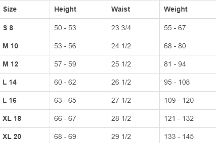 Land's End big boys' regular outerwear size chart