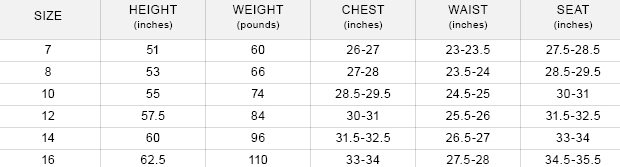 Bonnie Jean girls' 7-16 clothing size chart