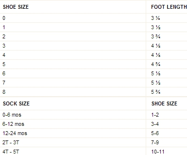 Crazy 8 baby sock & shoe size chart