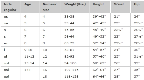 Gap Kids girls' regular bottoms size chart