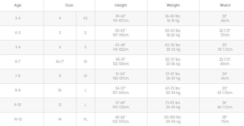 The Children's Place big girl regular clothes size chart