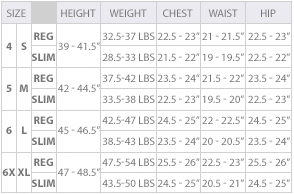 Calvin Klein little girls' clothing size chart