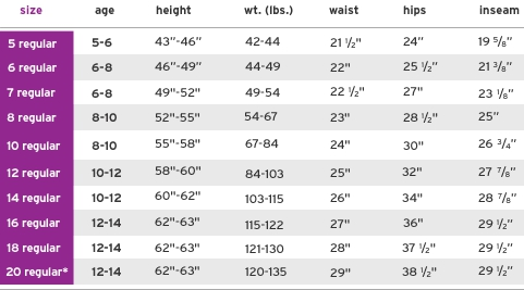 Justice girls' regular bottoms size chart