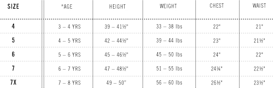 Levi's boys' 4-7x clothing size chart