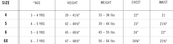 Levi's girls' 4-6x clothing size chart