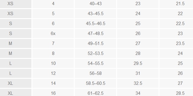 Cherokee girls' regular tops size chart