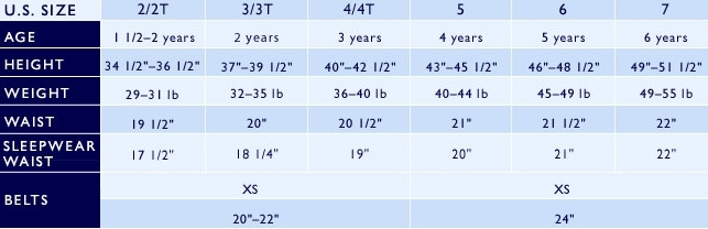 Ralph Lauren boys' 2-7 clothing size chart