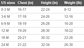 Under Armour infant clothing size chart