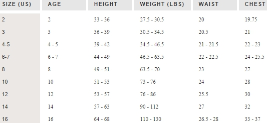 Crewcuts boys' tops size chart
