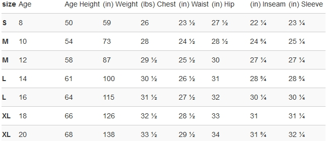 Puma big boys' clothing size chart