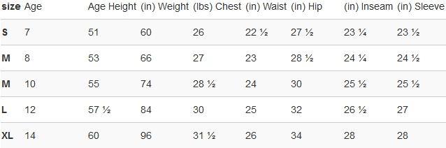 Puma big girls' clothing size chart