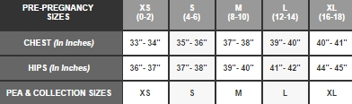 A Pea in the Pod pre-pregnancy sizes size chart