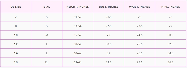 Girls' clothes size chart