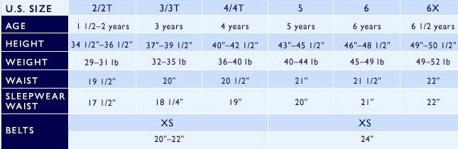 Ralph Lauren girls' 2-6x clothing size chart
