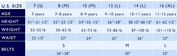 Ralph Lauren girls' 7-16 clothing size chart