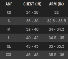 Abercrombie & Fitch mens' tops size chart