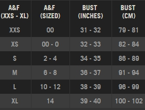 Abercrombie & Fitch womens' tops dresses size chart