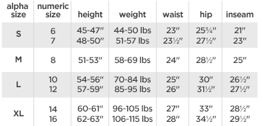Arizona girls' regular bottoms size chart