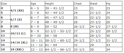 George boys' regular size chart