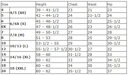 George girls' regular size chart