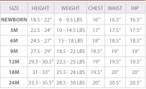 Calvin Klein baby clothing size chart