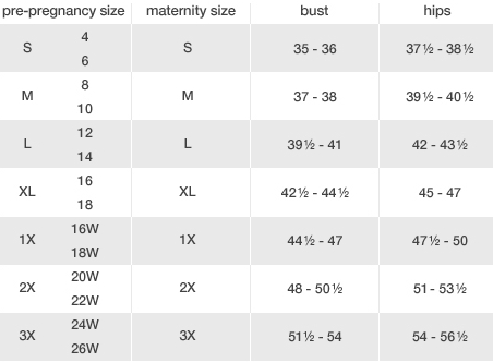 Duo Maternity clothing size chart