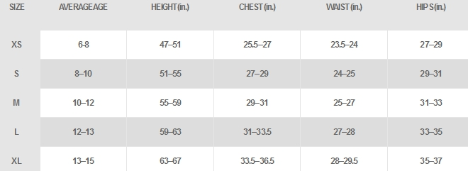 Nike girls' apparel size chart
