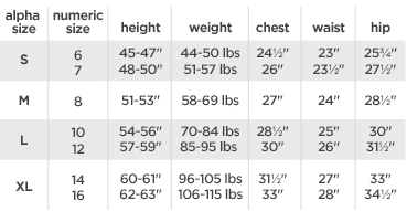 Arizona girls' regular tops size chart