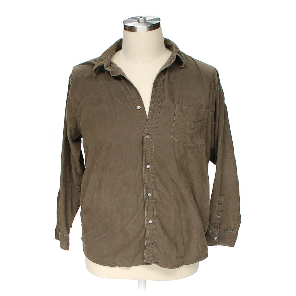 Brown chaps button down long sleeve shirt in size 2xl at for Chaps button down shirts