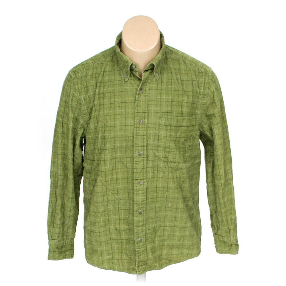 Green eddie bauer button down long sleeve shirt in size m for 17 33 shirt size