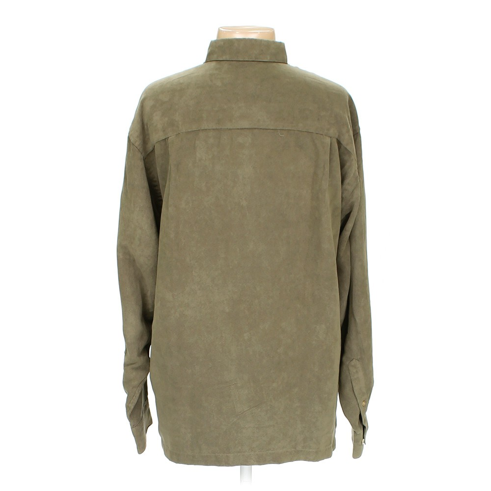 Green geoffrey beene button down long sleeve shirt in size for 18 36 37 shirt size