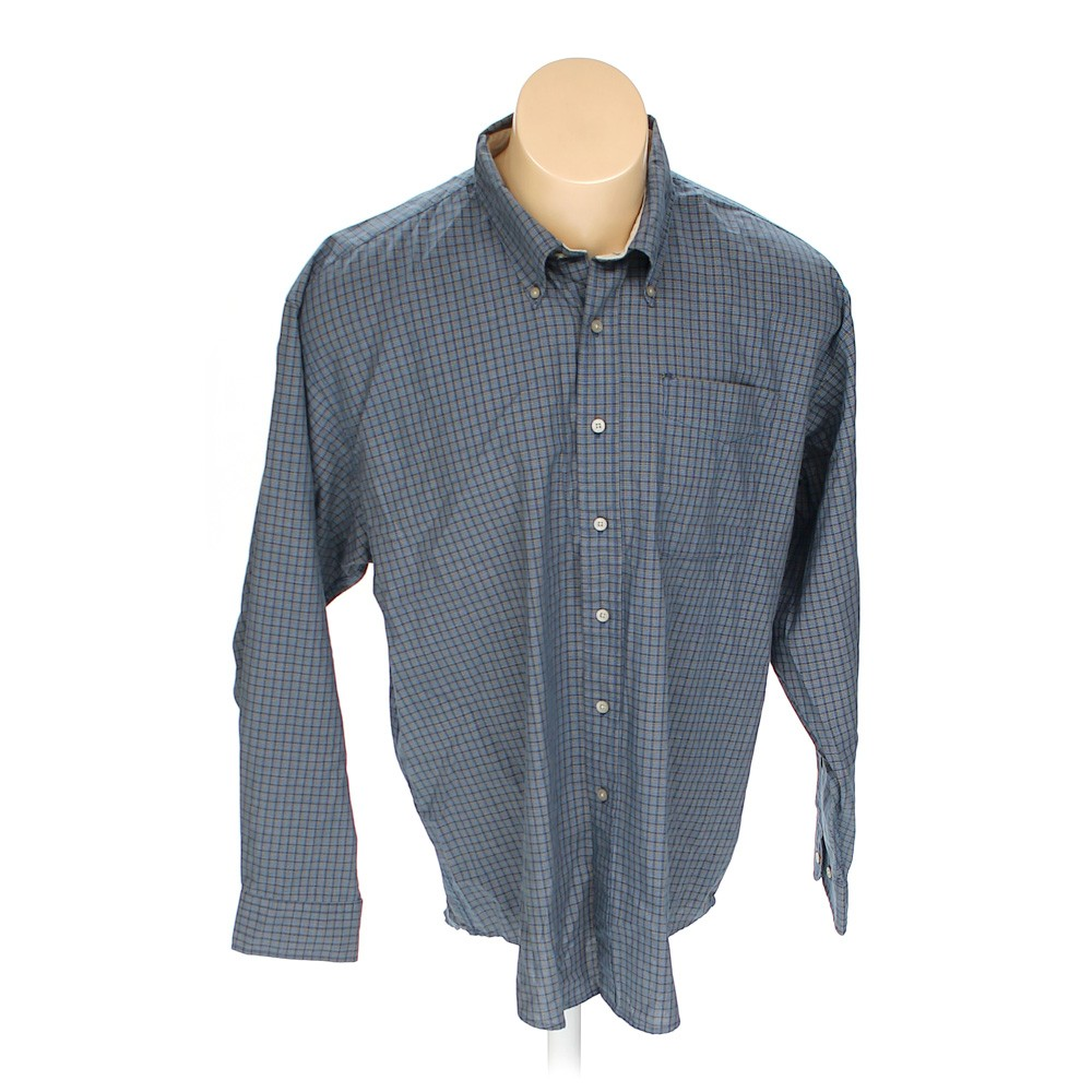Blue navy haggar button down long sleeve shirt in size 2xl for 18 36 37 shirt size