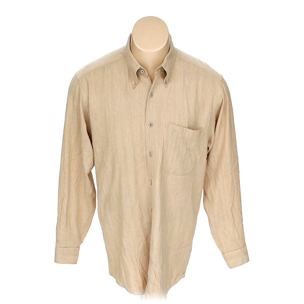 Beige hazard button down long sleeve shirt in size m at up for 17 33 shirt size