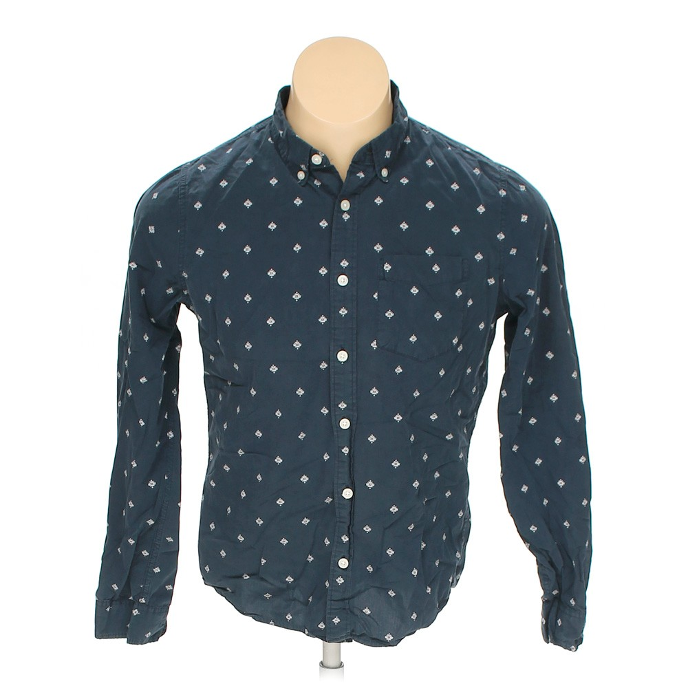 Blue navy hollister button down long sleeve shirt in size for 17 33 shirt size