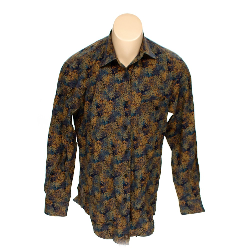Island soft cotton button down long sleeve shirt size m for Soft cotton long sleeve shirts