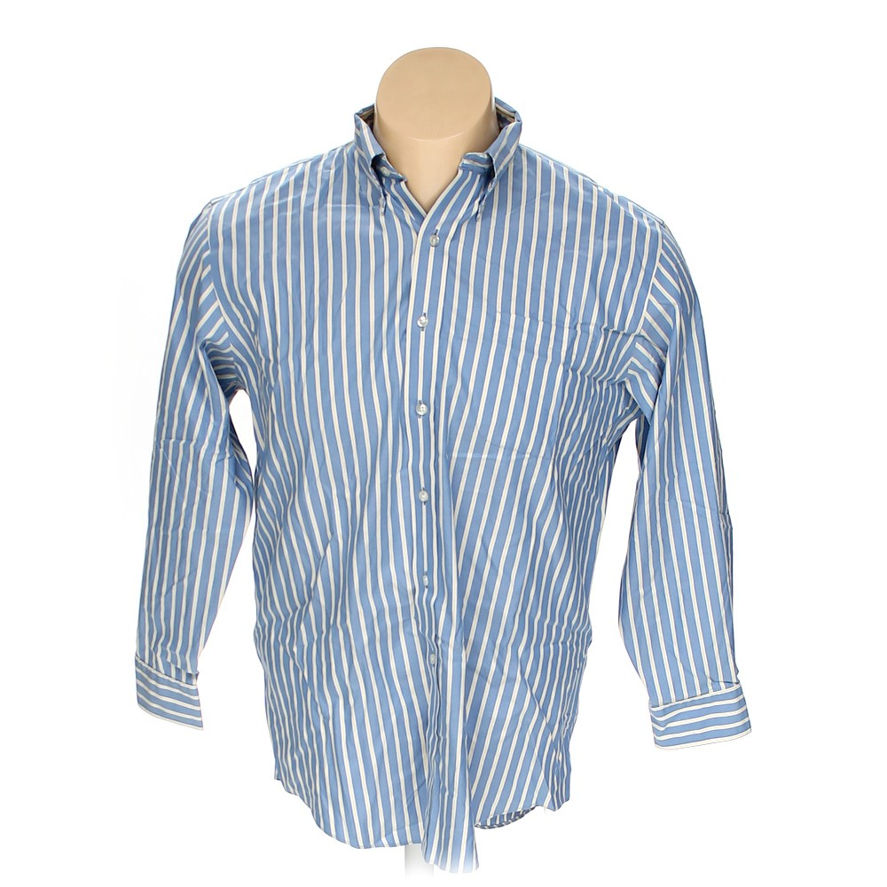 Blue navy lands 39 end button down long sleeve shirt in size for 17 33 shirt size