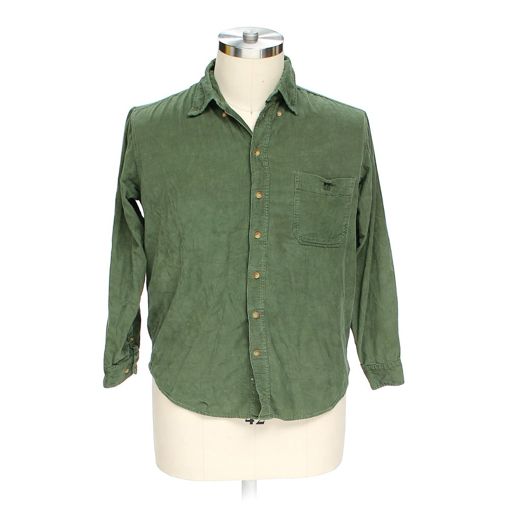 Green naf naf button down long sleeve shirt in size l at for 17 33 shirt size