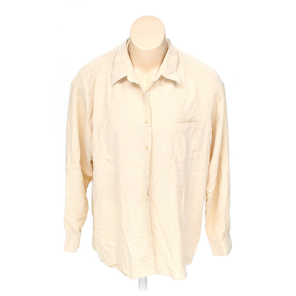 Beige stafford button down long sleeve shirt in size 2xl for Stafford t shirts big and tall
