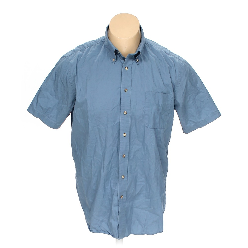 Blue navy croft barrow button down short sleeve shirt in for Croft and barrow womens polo shirts