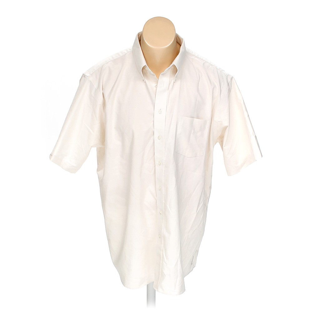 Beige stafford button down short sleeve shirt in size 58 for Stafford t shirts big and tall