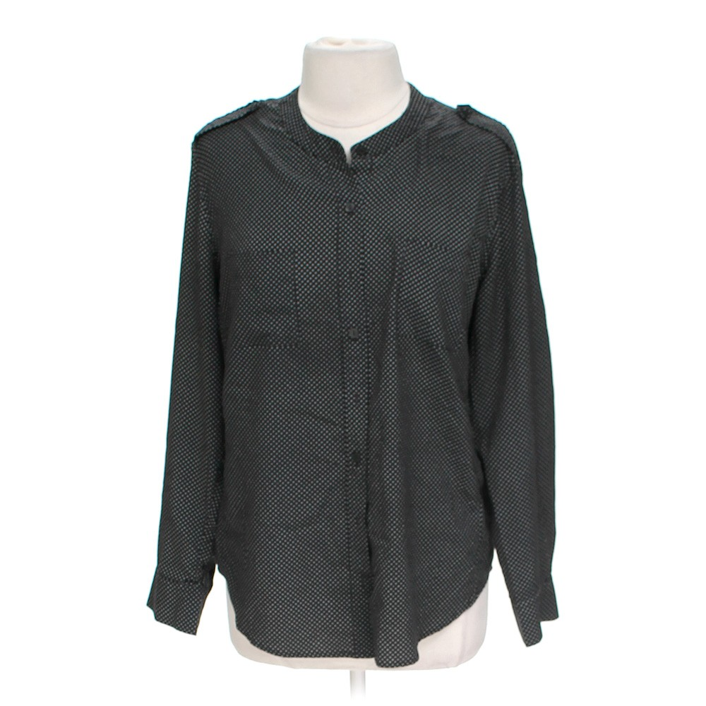 Black apt 9 button up blouse in size xl at up to 95 off for Polyester button up shirt