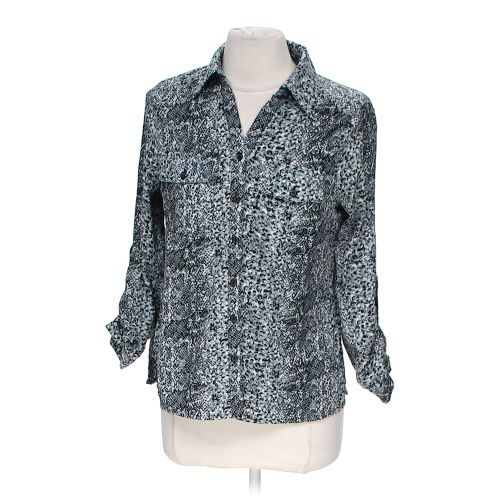 Grey notations button up blouse in size m at up to 95 off for Polyester button up shirt