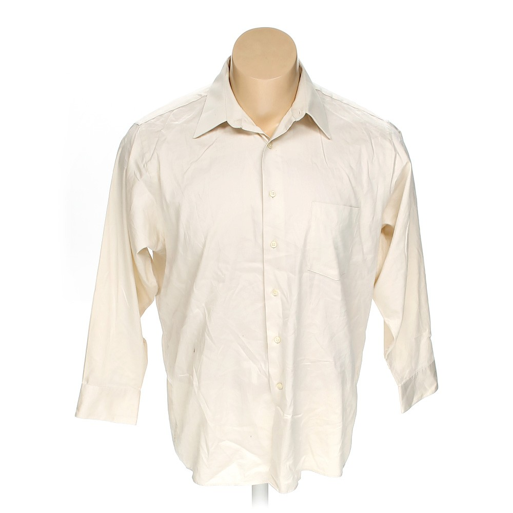 Beige arrow button up long sleeve shirt in size 54 chest for 17 33 shirt size