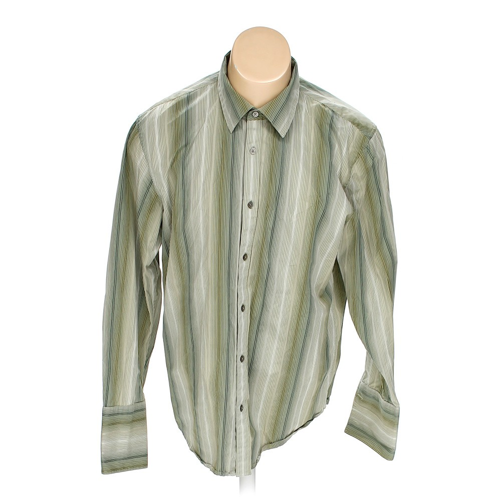 Green calvin klein button up long sleeve shirt in size l for 18 36 37 shirt size